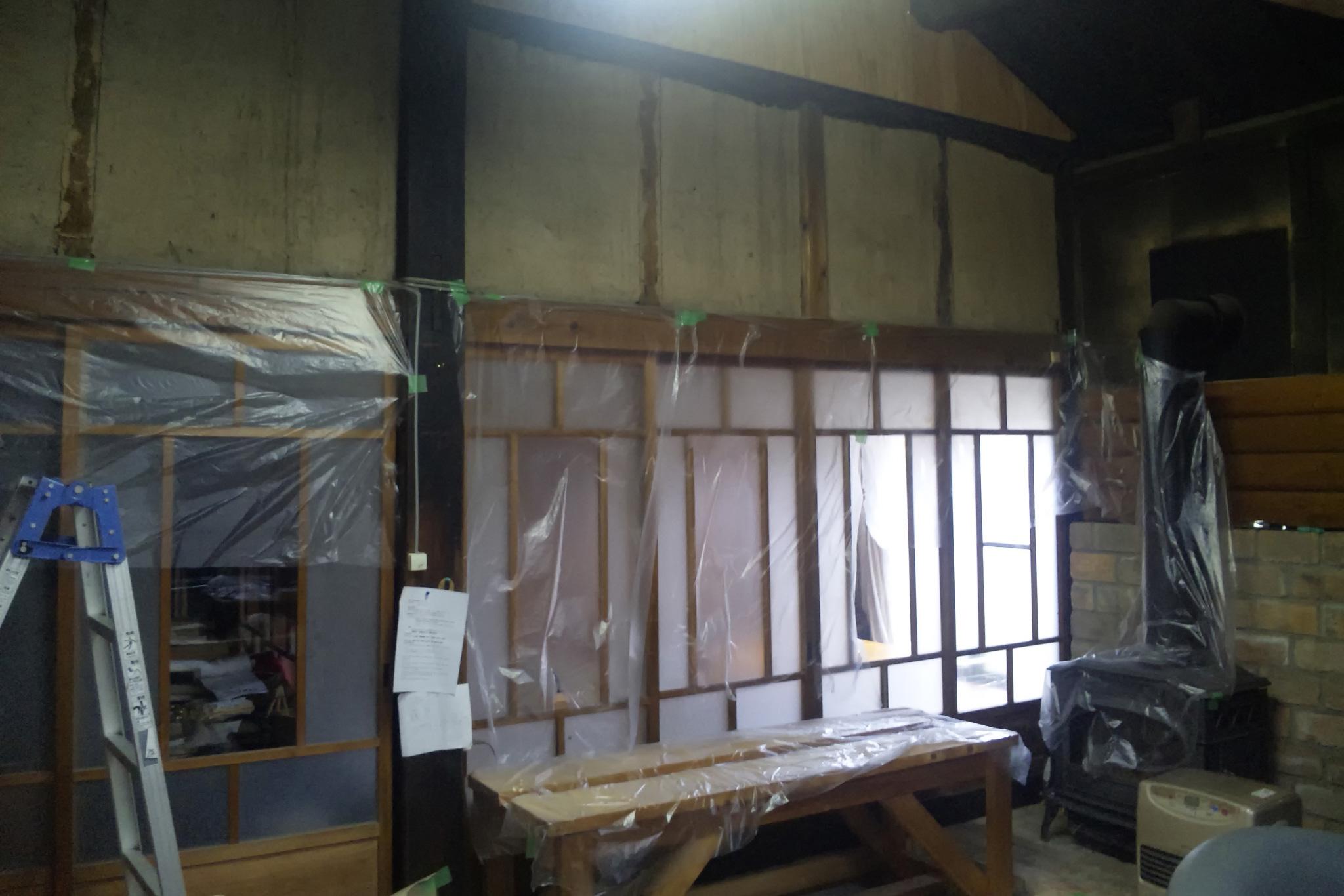 漆喰を塗る前の土壁